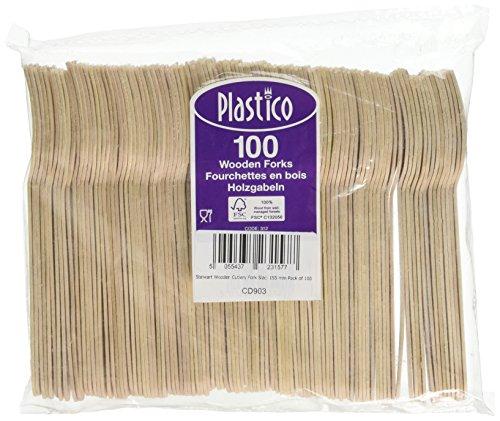 Stalwart CD903 Lot de 100 fourchettes en bois, taille : 155 mm