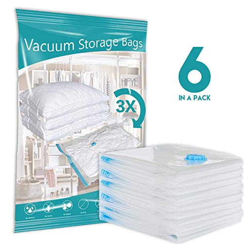 Hifye Vacuum Storage Reusable Bags for Clothes Quilts 6 Pack Extra Strong Vacuum Compression Bags Organizers Storage Ideal for Travel Food or Home Relocation