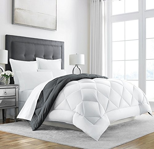 white and grey hotel bedding - 2