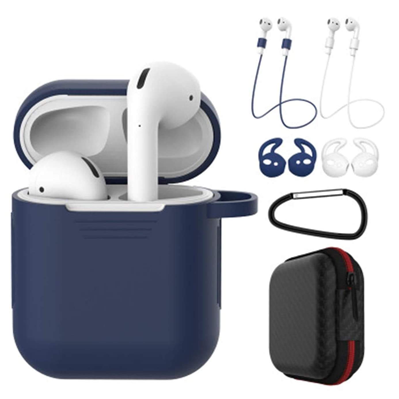 7 in 1 Airpods Protective Case Accessories Kits, Silicone Cover for Apple Airpod(Front LED Not Visible) with 2X Anti-Lost Rope/1X Anti-Hanging Buckle/2X Earbuds/1X Headset Package