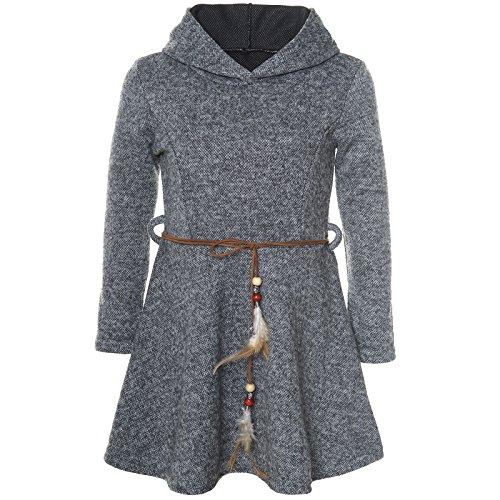 BEZLIT Mädchen Kleid Kostüm Kapuze Peticoat Festkleid Langarm 21578 Anthrazit Größe 104