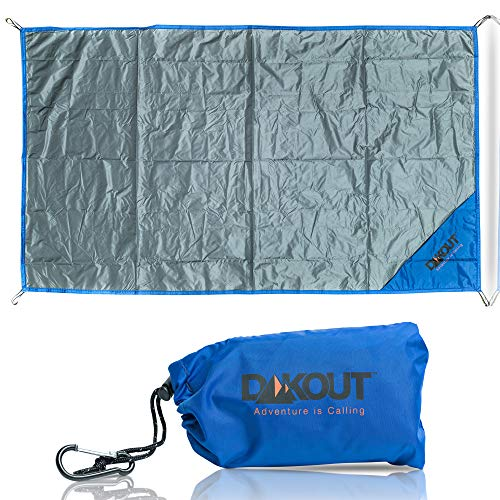 Ultralight Backpacking Tarp Ground Cloth, Waterproof Pocket Blanket, Compact Packable Groundsheet, Hiking Gear for Two, Use for Camping, Biking, Travel, Beach, Pouch and Carabiner, 27.5 x 48 inches