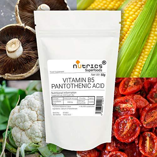 Nutrics Vitamin B5 PANTOTHENIC Acid Calcium D PANTOTHENATE Powder 50g