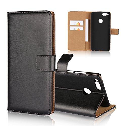 Copmob Handyhülle Xiaomi Mi A1 Hülle,Premium Flip Leder Handytasche,[3 Kartenfächer][Standfunktion],Brieftasche Klapphülle Tasche für Xiaomi Mi A1 - Schwarz