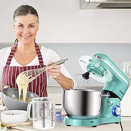Aucma Küchenmaschine 1400W mit 6,2L Edelstahl-Rühlschüssel, Rührbesen, Knethaken, Schlagbesen und Spritzschutz, 6 Geschwindigkeit Geräuschlos Teigmaschine, Blau - 5