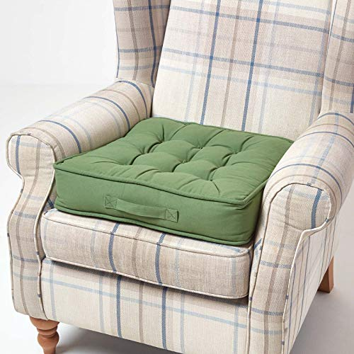 HOMESCAPES Green Armchair Booster Cushion Large Firm 50 cm Square Seat Pad with Supportive 10 cm Thick Lift Luxury Soft Touch Cotton Dark Green Cushion For The Elderly, Post-Operative and Pregnancy