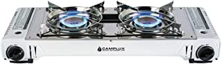 CAMPLUX ENJOY OUTDOOR LIFE Camplux Portable Camping Butane Gas Stove Twin Burner with Carrying Case, (Stainless Steel & White)