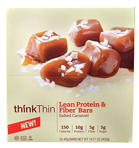 Think Products thinkThin Lean Protein & Fiber Bars Salted Caramel -- 40g 10 Bars
