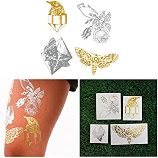 Tattify Metallic Hand Drawn Nature Temporary Tattoos - Pearlescent (Set of 8) and Fashionable Silver and Gold Removable Fake Temporary Tattoos