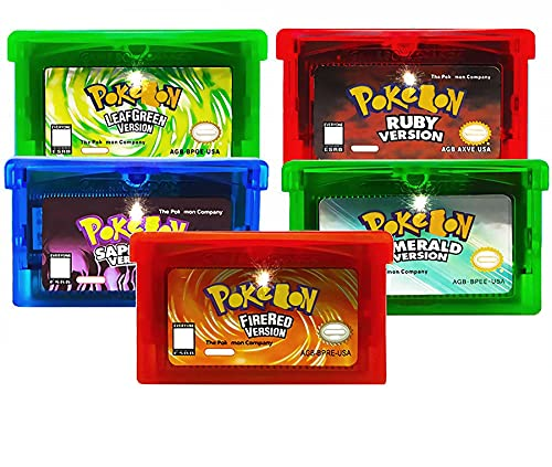 IIIHAT 5 Pcs Pokemon-Leaf Green Ruby Sapphire Emerald Fire Red Game Cartridges US Version For GBA SP NDSL