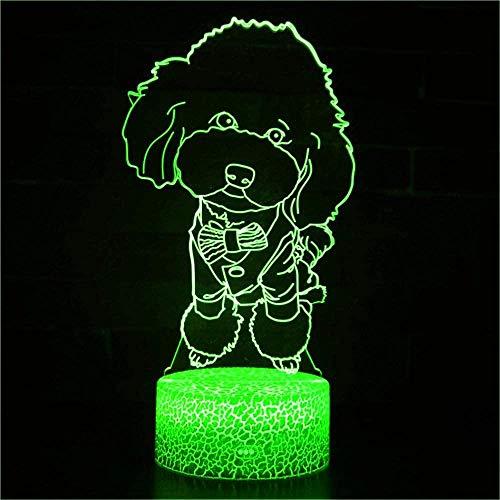 Lámpara de ilusión óptica de perro 3D, 7 colores, interruptor táctil, ilusión nocturna, para dormitorio, decoración, boda, cumpleaños, día de San Valentín, regalo