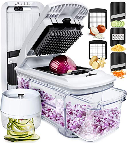 Fullstar Mandoline Slicer Spiralizer Vegetable Slicer - Vegetable Chopper Onion Chopper Food Chopper Vegetable Spiralizer Mandoline Slicer Cutter Chopper and Grater Slicer Zucchini Spaghetti Maker
