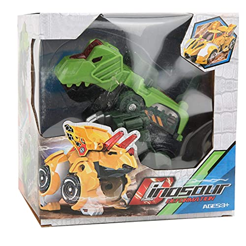 FOLOSAFENAR Coche Juguete Deformación Dinosaurio Juguetes sin batería Control de Fuerza de plástico Carreras inerciales para niños para niños(Tyrannosaurus (Green))