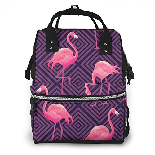 Luiertas Rugzak, Lucaeat Mooi Tropisch Patroon met Roze Flamingos Grote Multifunctionele Reisrugzak, Grote capaciteit, Waterdicht en Stijlvol