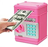 GuDoQi Piggy Bank Digital Electronic Password Money Bank Mini ATM Cash Coin Saving Can Toys Birthday Gifts for Kids Pink Silver