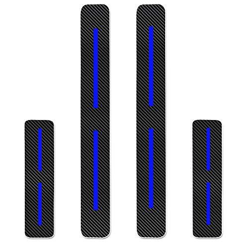 Protectores de Umbral de la Puerta del Coche para Aygo Yaris Auris Nouveau Prius Verso Avensis GT86 Land Cruiser Hilux 4D Vinilo Fibra de Carbono Adhesiva Pegatinas Azul 4 Piezas