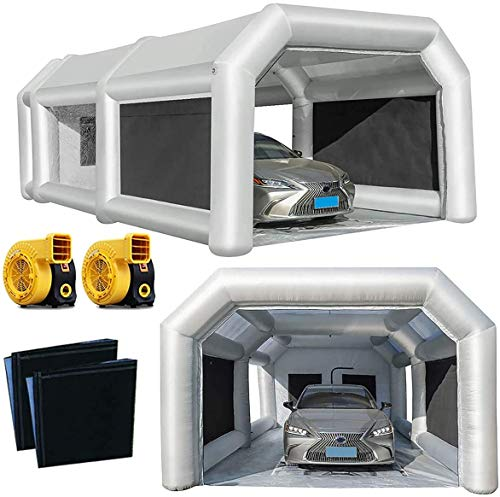Inflatable Paint Booth 28x15x10Ft Portable Paint Booth with Two 950W Blowers Professional Inflatable Spray Booth, Car Painting Tent for Car Garage with Larger Air Filter System