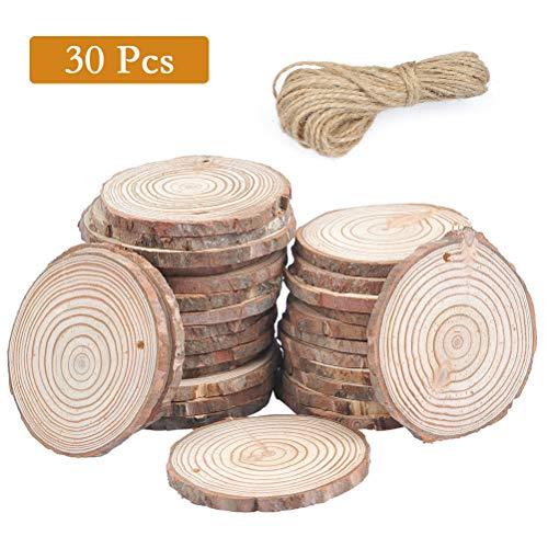 TIMESETL 30 Pezzi Fette di Legno Cerchi Pino 6-7 cm Dischi di Legno Fetta Naturale Corda di Canapa 10 m Artigianato in Legno per Matrimoni/Natale/Capodanno/Compleanno