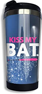 Coffee Travel Mug Kiss My Bat Bottle Car Tumbler Cup Iced Tea Or Water Insulated Thermal Cup Stainless Steel for Hiking, Camping & Working