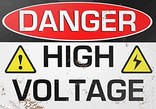 Jessgirl Cartel de estaño - peligro de alto voltaje, estilo vintage, bar, bar, bar, garaje, hotel, comedor, cafetería, hogar, valla de malla de hierro, granja supermercado, 20 x 30 cm