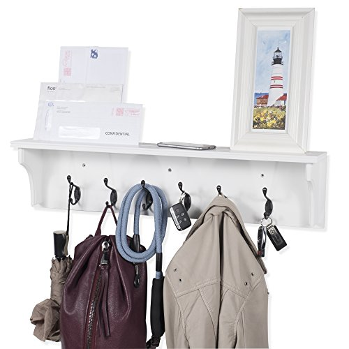 Solid Wood Entryway Organization Wall Mountable 30 Inch Coat Rack with 6 Hooks (White)
