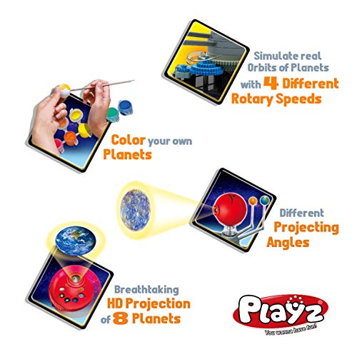 Product Image 7: Playz Solar System Model Kit with 4 Speed Motor, HD Planetarium Projector, 8 Painted Planets, and 8 White Foam Balls with Paint and Brush for a Hands-On STEM DIY Project