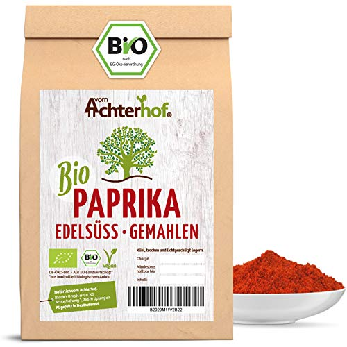 Bio Paprika edelsüß rot gemahlen (250g) | Paprikapulver süß | PREMIUM Gewürz vom Achterhof