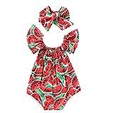 Zoylink Baby Strampler Baby Body Wassermelone Bedruckt RüSchen Baby MäDchen Bodysuit Infant Sommer Overall Mit Stirnband