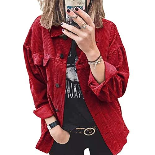 PRJN Camisas de Gran tamaño con Botones para Mujer Blusa de Manga Larga Manga enrollada con puños Trabajo Informal Tops Lisos con Bolsillos Camisa de Pana con Botones Chaqueta de Gran tamaño Blusa