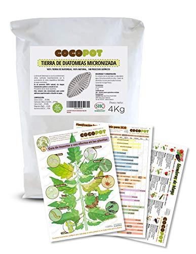 COCOPOT Tierra Diatomeas 4kg. con 3 Láminas Huerto - Envase sin plástico - Grado alimenticio E551C Micronizada - 100% Natural y Ecológic