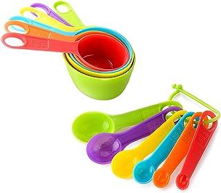 Cucharas Medidoras,Juegos de 12 Cucharas Medidoras Plástico Cucharas y Tazas Medidoras Multicolor Medidoras de Cocina Medi...