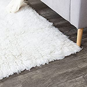 1 Super Area Rugs Hand Woven Flokati White Shag Rug Natural 8x10 New Zealand Wool 8ft X 10ft Best Buy Shop Sale