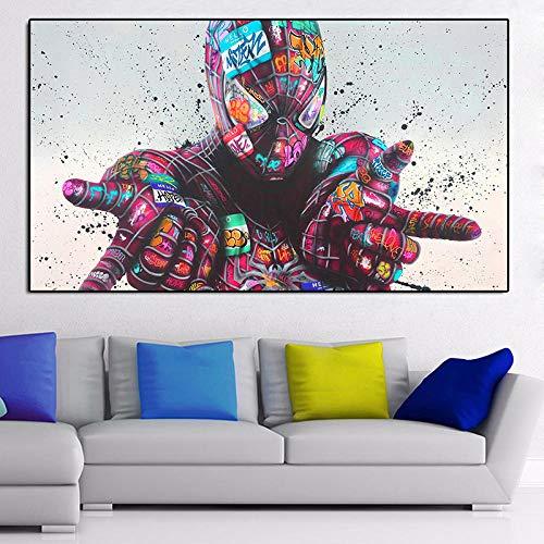 WKHRD Graffiti Affiches Et Estampes Spider Man Pose Classique Street Art Photos sur Mur Art Toile Peinture pour La Décoration De Salon - 60x100cm (sans Cadre)