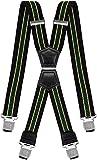 Decalen Tirantes Hombre Elásticos Ancho 40 mm con Clips Extra Fuerte Una Talla Para Todos (Negro Amarillo Verde)