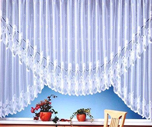 wohnfuehlidee Kuvert-Store Mara, Jacquard mit Kräuselband, halbtransparent, Farbe weiß Größe HxB 145x600 cm
