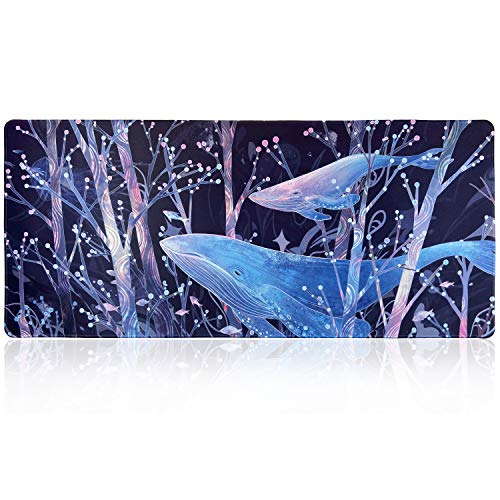 Extended Large Gaming Mouse Pad with Floral Design, XXL Mousepad-35.4''x15.7''x0.12''(0.3cm Thick), Office Desk Pad Keyboard Mat with Stitched Edges, Non-Slip Base, Water-Resistant, Blue Whale