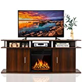 Tangkula Fireplace TV Stand, Living Room Media Console Table w/1500W Electric Fireplace for TVs up to 70 Inches, Modern TV Console w/ Fireplace, Remote Control & Adjustable Brightness (Cherry)