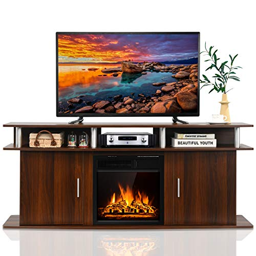 Tangkula Fireplace TV Stand, Living Room Media Console Table w/1500W Electric Fireplace for TVs up...