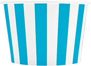 Blue Paper Ice Cream Cups - 8 oz Striped Madness Dessert Bowls Perfect For Yummy Treats - Many Sizes to Make Your Party Amazing! Frozen Dessert Supplies - 50 Count