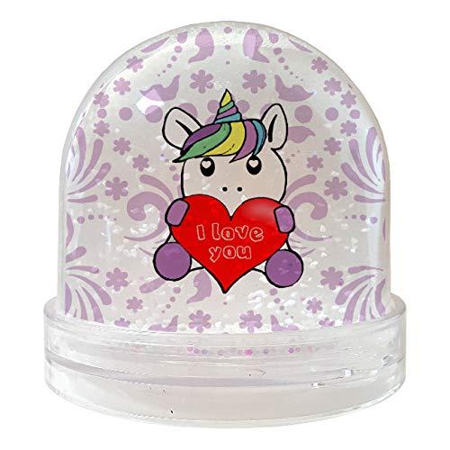 My Custom Style Bola Globo de nieve #San Valentín – Unicornio Love#Nieve 9 x 9 cm