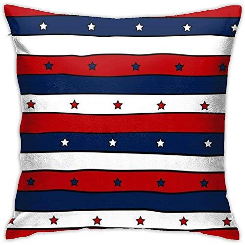 July Kussenovertrek met kussensloop, rood, wit en blauw gestreept, zonder inzetstukken, voor sofa, slaapkamer, huis, party