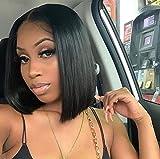 Brazilian Straight Bob Wig Human Hair 13x4x1 Bob Lace Frontal Wigs Human Hair Short Bob Wigs for Black Women Natural Color (10Inch)