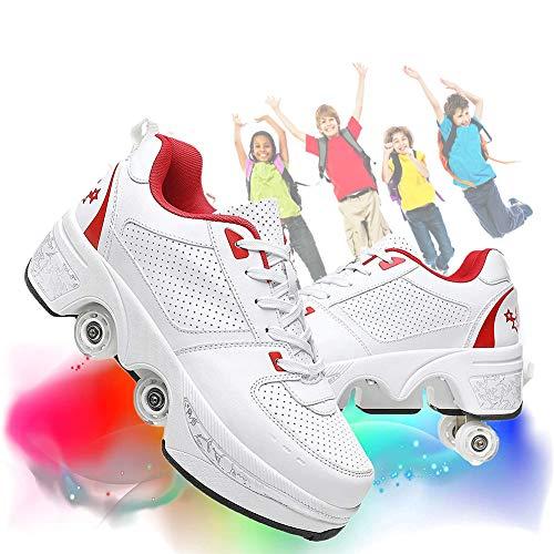 Patines para Niñas/Mujeres 2 En 1 Rueda De Deformación De Doble Fila Zapatillas para Caminar Automáticamente Patinaje sobre Hielo Sports Al Aire Libre Kick Rollershoeshoes,White+Red,39EU/8.5US