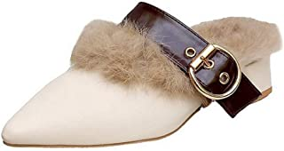 Women's Mule Flats Shoes Pointed Toe Buckle Strap Backless Fur Slipper Slip On Loafer Shoes