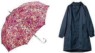 【セット買い】ワールドパーティー(Wpc.) 雨傘 長傘 ピンク 58cm plantica×Wpc.フラワーアンブレラロング PL004-09 PK+レインコート ポンチョ レインウェア ネイビー FREE レディース 収納袋付き R-1105 NV