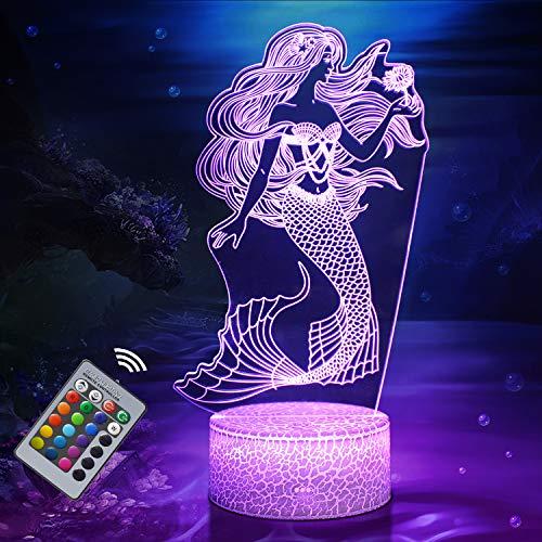 Sirena Luz de Noche para niños, Juguetes de Sirena para Niña, Lámpara de Noche Táctil de 16 Colores con Control Remoto, Regalos de Vacaciones y Cumpleaños para Niños Decoración de Dormitorio