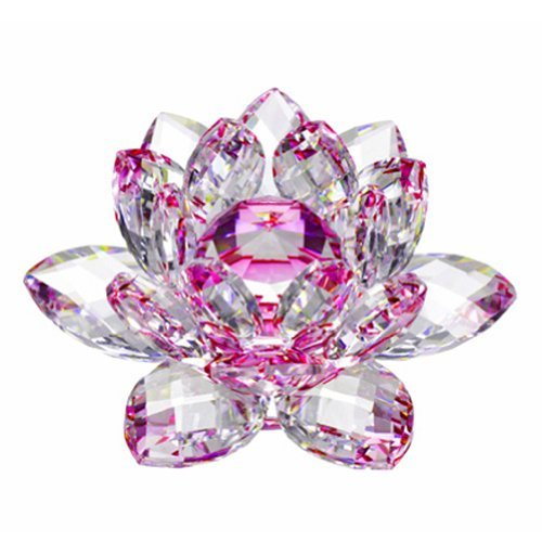 Amlong Crystal Hue Reflection Crystal Lotus Flower with Gift Box, Pink (5 Inch)