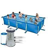 Juego de piscina con marco rectangular Intex 4 en 1, 450 x 220 x 84 cm, con bomba de filtro, 3407 litros/hora y filtro de repuesto, 7 piezas, 28273