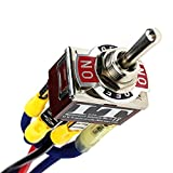 IndusTec Wired DPDT 20 Amp 12V (On)/Off/(On) 3 Position Reverse Polarity DC Control Momentary Automatic Reset Toggle Switch 6 Pin Quick Plug