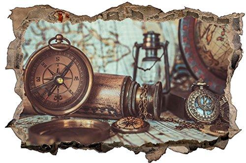 Kompass Karte Antik Retro Wandtattoo Wandsticker Wandaufkleber D0982 Größe 70 cm x 110 cm